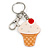 Yummy Strawberry Ice Cream Plastic Keyring (Cream & White)