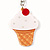 Yummy Strawberry Ice Cream Plastic Keyring (Cream & White)