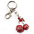 Ruby Red Coloured Diamante Cherry Keyring - view 3
