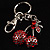 Ruby Red Coloured Diamante Cherry Keyring - view 2