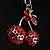 Ruby Red Coloured Diamante Cherry Keyring - view 6