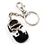 Black And White Enamel Doll Shoe Keyring (Silver Tone)