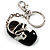 Black And White Enamel Doll Shoe Keyring (Silver Tone) - view 2