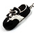 Black And White Enamel Doll Shoe Keyring (Silver Tone) - view 4