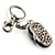 Black And White Enamel Doll Shoe Keyring (Silver Tone) - view 3