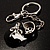 Black And White Enamel Doll Shoe Keyring (Silver Tone) - view 5