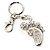 Funky Crystal Foot Key Ring/ Bag Charm (Silver Tone) - view 4