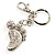Funky Crystal Foot Key Ring/ Bag Charm (Silver Tone) - view 5