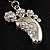 Funky Crystal Foot Key Ring/ Bag Charm (Silver Tone) - view 2