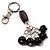 Silver Tone Ceramic Bead Charm Keyring/ Bag Charm (Black)