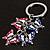 Silver Tone Crystal Enamel Butterfly Keyring/ Bag Charm - view 2