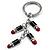 Silver Tone Crystal Enamel Lipstick Keyring/ Bag Charm - view 3