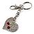 Silver Tone Swarovski Crystal Heart & Cherry Keyring/ Bag Charm - view 2