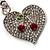 Silver Tone Swarovski Crystal Heart & Cherry Keyring/ Bag Charm - view 3