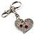 Silver Tone Swarovski Crystal Heart & Cherry Keyring/ Bag Charm - view 4