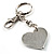 Silver Tone Swarovski Crystal Heart & Cherry Keyring/ Bag Charm - view 5