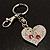 Silver Tone Swarovski Crystal Heart & Cherry Keyring/ Bag Charm - view 6