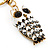 Cute White Enamel Diamante Owl Keyring/ Bag Charm (Burn Gold Plated Metal) - view 4
