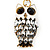 Cute White Enamel Diamante Owl Keyring/ Bag Charm (Burn Gold Plated Metal) - view 3