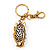 Cute White Enamel Diamante Owl Keyring/ Bag Charm (Burn Gold Plated Metal) - view 6