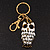 Cute White Enamel Diamante Owl Keyring/ Bag Charm (Burn Gold Plated Metal) - view 8