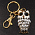 Cute White Enamel Diamante Owl Keyring/ Bag Charm (Burn Gold Plated Metal) - view 2