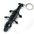 Black/ Hematite Glass Bead Crocodile Keyring/ Bag Charm - 17cm Length