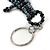 Black/ Hematite Glass Bead Crocodile Keyring/ Bag Charm - 17cm Length - view 4