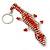 Coral/ Transparent Glass Bead Crocodile Keyring/ Bag Charm - 17cm Length - view 2