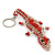 Coral/ Transparent Glass Bead Crocodile Keyring/ Bag Charm - 17cm Length - view 7