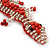 Coral/ Transparent Glass Bead Crocodile Keyring/ Bag Charm - 17cm Length - view 4