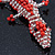 Coral/ Transparent Glass Bead Crocodile Keyring/ Bag Charm - 17cm Length - view 3