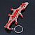 Coral/ Transparent Glass Bead Crocodile Keyring/ Bag Charm - 17cm Length - view 6