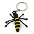 Black/ Yellow Glass Bead Bee Keyring/ Bag Charm - 9cm Length