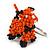 Orange/ Black Glass Bead Scottie Dog Keyring/ Bag Charm - 8cm Length - view 2