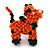 Orange/ Black Glass Bead Scottie Dog Keyring/ Bag Charm - 8cm Length - view 3