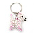 White/ Pink Glass Bead Scottie Dog Keyring/ Bag Charm - 8cm Length - view 8