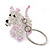 White/ Pink Glass Bead Scottie Dog Keyring/ Bag Charm - 8cm Length - view 2