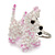 White/ Pink Glass Bead Scottie Dog Keyring/ Bag Charm - 8cm Length - view 9