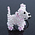 White/ Pink Glass Bead Scottie Dog Keyring/ Bag Charm - 8cm Length - view 3