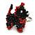 Black/ Red Glass Bead Scottie Dog Keyring/ Bag Charm - 8cm Length - view 2