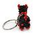 Black/ Red Glass Bead Scottie Dog Keyring/ Bag Charm - 8cm Length - view 4