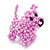 Baby Pink Glass Bead Scottie Dog Keyring/ Bag Charm - 8cm Length - view 6