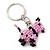 Pink/ Black Glass Bead Scottie Dog Keyring/ Bag Charm - 8cm Length - view 6