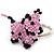 Pink/ Black Glass Bead Scottie Dog Keyring/ Bag Charm - 8cm Length - view 3