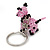 Pink/ Black Glass Bead Scottie Dog Keyring/ Bag Charm - 8cm Length - view 4