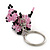 Pink/ Black Glass Bead Scottie Dog Keyring/ Bag Charm - 8cm Length