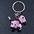 Pink/ Black Glass Bead Scottie Dog Keyring/ Bag Charm - 8cm Length - view 8