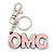 'OMG' Light Pink Plastic Rhodium Plated Keyring/ Bag Charm - 105mm Length