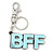 'BFF' Light Blue Plastic Rhodium Plated Keyring/ Bag Charm - 85mm Length